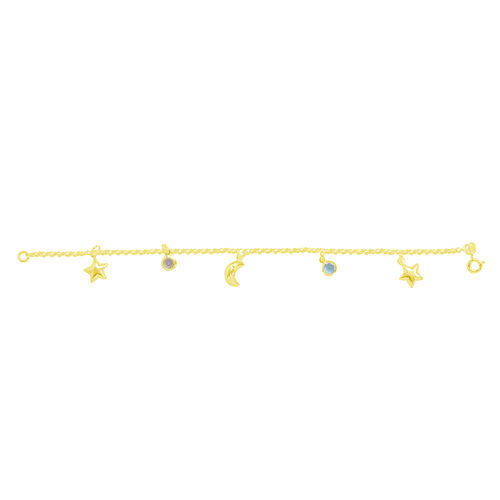 Tucson Collection AAA Simulated Aquamarine and Simulated Champagne Diamond Bracelet with Star and Half Moon Charm in Yellow Gold Overlay Sterling Silver (Size 7.5)