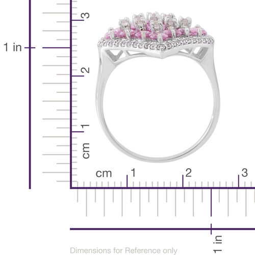 Designer Inspired- 9K White Gold AAA Pink Sapphire (Ovl), Natural Cambodian Zircon Ring 6.350 Ct. Gold Wt 4.50 Gms