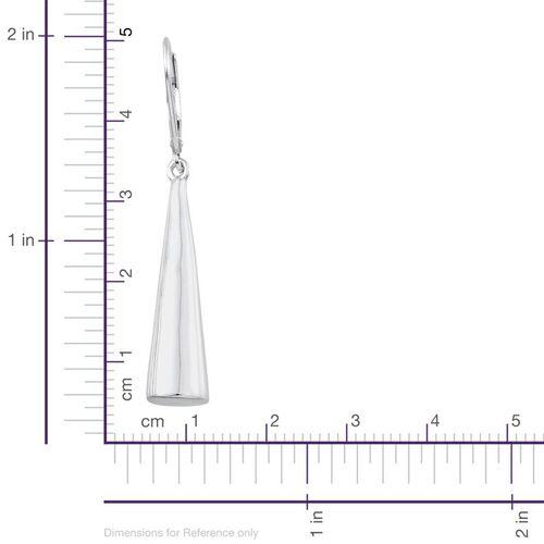 Platinum Overlay Sterling Silver Shanku Lever Back Earrings, Silver wt 6.00 Gms.