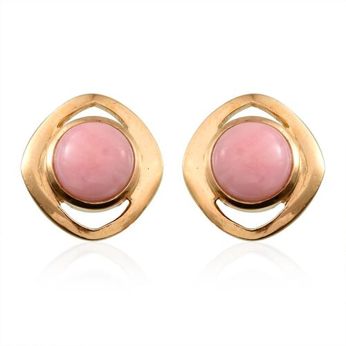 Peruvian Pink Opal (Rnd) Stud Earrings (with Push Back) in 14K Gold Overlay Sterling Silver 3.500 Ct.
