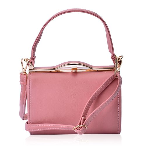 Dusty Pink Colour Clutch Bag With Adjustable and Removable Shoulder Strap (Size 18x12.5x10 Cm)