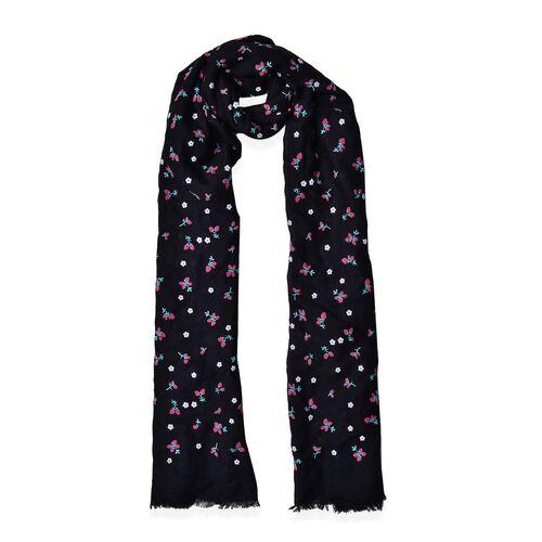 Cherry Pattern Black Colour Scarf (Size 180x70 Cm)