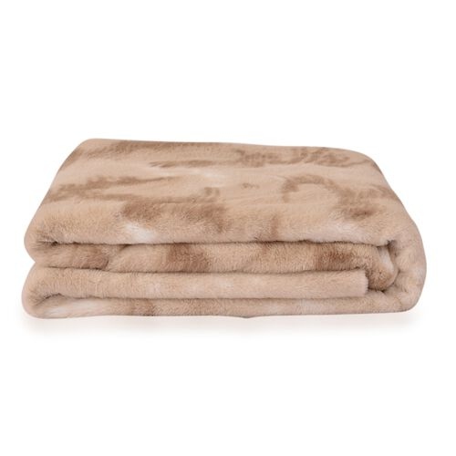 Close Out Super Soft Beige Colour Faux Fur Flannel Reversible Blanket (Size 200X150 Cm) 350GSM front and 200GSM back, TOTAL 550GSM