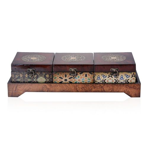 Floral, Cone and Star Pattern Glossy Lacquer Coating 3 Wooden Jewellery Box (Size 12x12x8 Cm) with a Tray (Size 42x24x22 Cm)