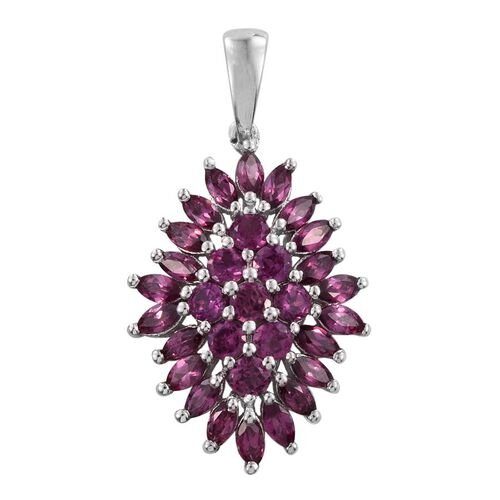 Rare Mozambique Grape Colour Garnet (Rnd) Cluster Pendant in Platinum Overlay Sterling Silver 3.500 Ct.