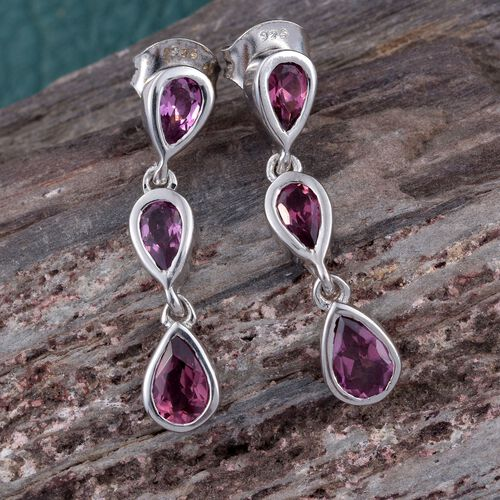Rhodolite Garnet (Pear) Earrings (with Push Back) in Platinum Overlay Sterling Silver 2.000 Ct.