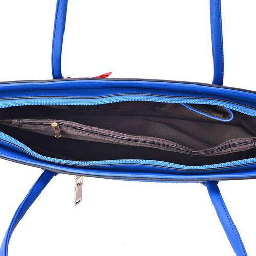 3D Floral Pattern Blue Colour Tote Bag (Size 38x28x8 Cm)
