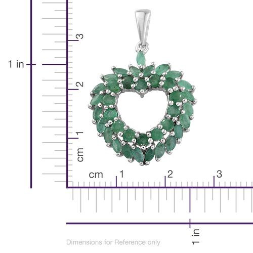 Kagem Zambian Emerald (Rnd) Heart Pendant in Platinum Overlay Sterling Silver 3.000 Ct.