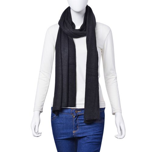 Black Colour Scarf (Size 210x60 cm)