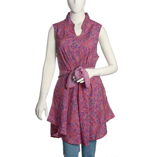 Purple and Multi Colour Paisley Pattern Top with Adjustable Waist Band (Free Size)