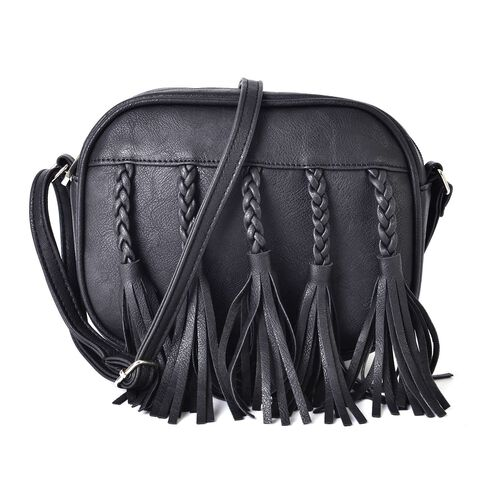 Black Colour Braided Tassels Design Crossbody Bag with Adjustable Shoulder Strap (Size 20x16x6.5 Cm)