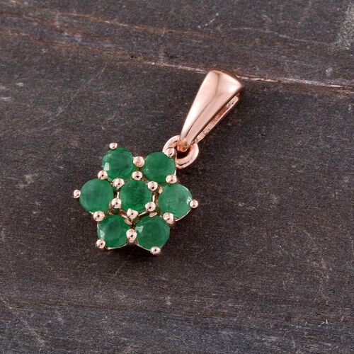 Zambian Emerald 0.75 Ct Silver 7 Stone Floral Pendant in Rose Overlay