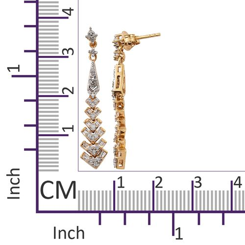 Designer Inspired- Diamond (Rnd) Dangling Earrings (with Push Back) in 14K Gold Overlay Sterling Silver 0.500 Ct.