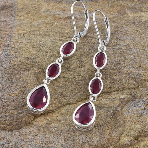 AAA African Ruby (Pear) Lever Back Earrings in Platinum Overlay Sterling Silver 7.750 Ct.