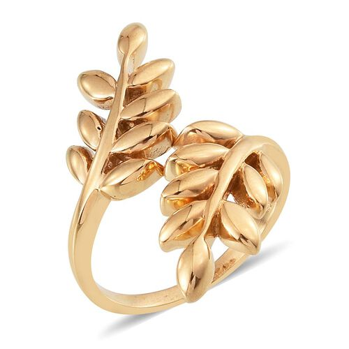 14K Gold Overlay Sterling Silver Olive Leaves Crossover Ring, Silver wt 6.70 Gms.