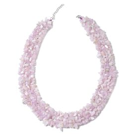 One Time Deal-Kunzite Chips Necklace (Size 18 with 2 inch Extender) in Rhodium Plated Sterling Silver 789.500 Ct.