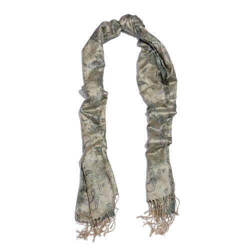 SILK MARK- 100% Superfine Silk Beige, Green and Multi Colour Jacquard Jamawar Scarf with Fringes (Size 180x70 Cm)