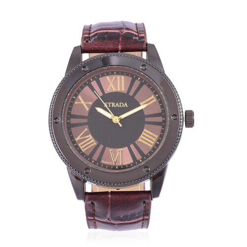 STRADA Japanese Movement Roman Numeral Dial Water Resistant Watch in Black Tone with Stainless Steel Back and Chocolate Colour Strap