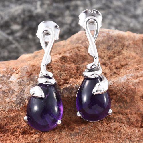 Designer Inspired-Amethyst (Pear) Drop Earrings (with Push Back) in Platinum Overlay Sterling Silver 8.250 Ct.