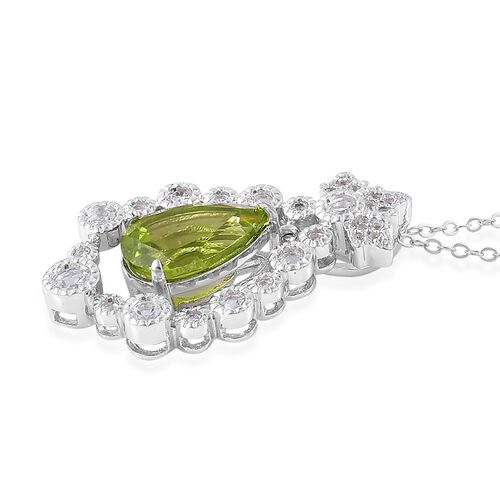 AAA Hebei Peridot (Pear 3.25 Ct), White Topaz Pendant With Chain in Platinum Overlay Sterling Silver 3.850 Ct.