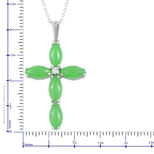 Green Jade (Mrq), Natural White Cambodian Zircon Cross Pendant with Chain in Rhodium Plated Sterling Silver 7.150 Ct.