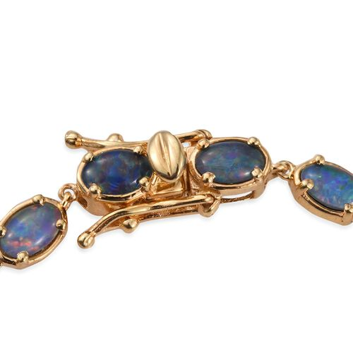 Australian Boulder Opal (Ovl) Bracelet (Size 7.5) in 14K Gold Overlay Sterling Silver 7.000 Ct.