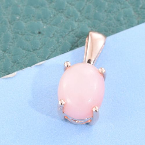 Natural Peruvian Pink Opal (Ovl) Solitaire Pendant in Rose Gold Overlay Sterling Silver 1.500 Ct.