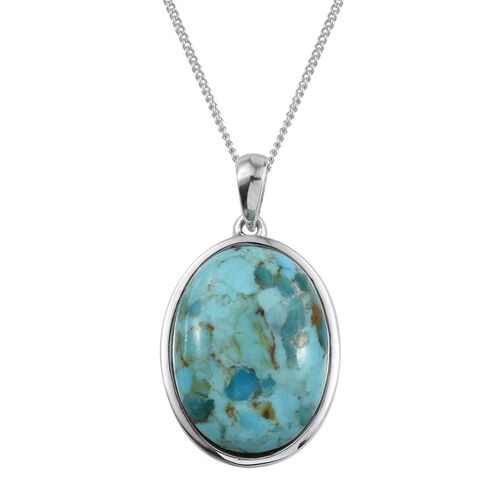 Arizona Matrix Turquoise (Ovl) Pendant With Chain in Platinum Overlay Sterling Silver 12.000 Ct.