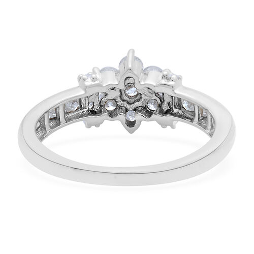9K White Gold SGL Certified Diamond (Rnd) (I3 G-H) Floral Ring 1.000 Ct.