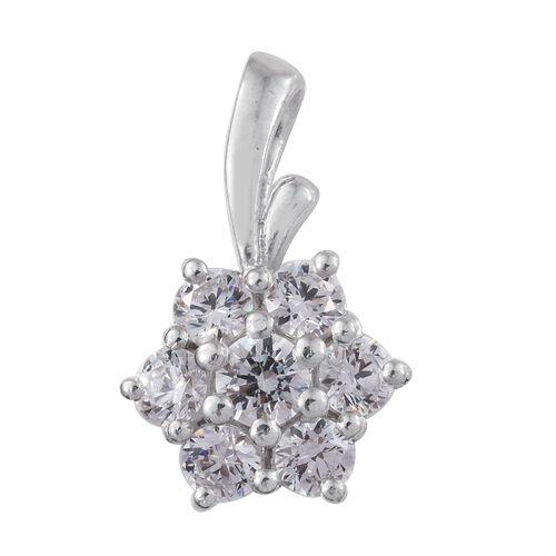J Francis - Platinum Overlay Sterling Silver (Rnd) Floral Pendant Made with SWAROVSKI ZIRCONIA