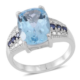 Limited Edition - Designer Inspired - AAA Electric Swiss Blue Topaz (Cush 7.50 Ct), Kanchanaburi Blue Sapphire Ring in Rhodium Plated Sterling Silver 8.000 Ct.