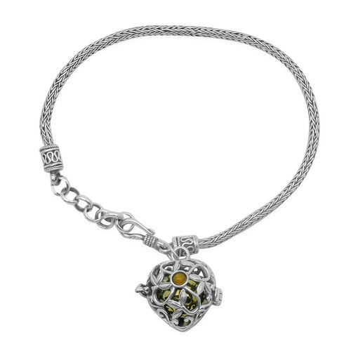 Royal Bali Collection Orange Ethiopian Opal (Rnd) Harmony Ball Charm Bracelet (Size 7.5 with Extender) in Yellow Gold Overlay and Sterling Silver
