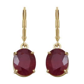 9K Yellow Gold AA African Ruby (Ovl) Lever Back Earrings 11.250 Ct.