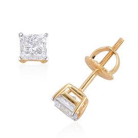 ILIANA 18K Yellow Gold 1 Carat Princess Cut Diamond Earrings (with Screw Back) IGI Certified (SI/G-H)