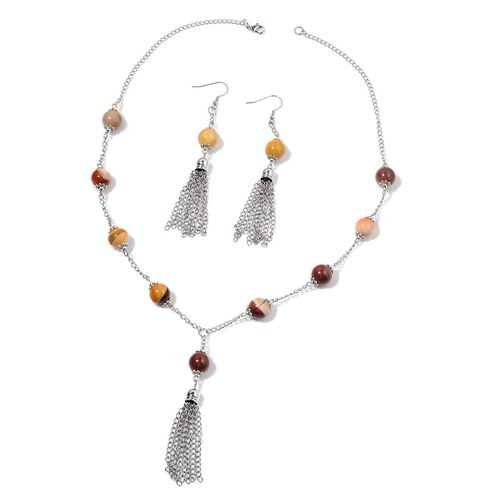 Mookite Necklace (Size 24) and Hook Earrings in Silver Tone 150.000 Ct.