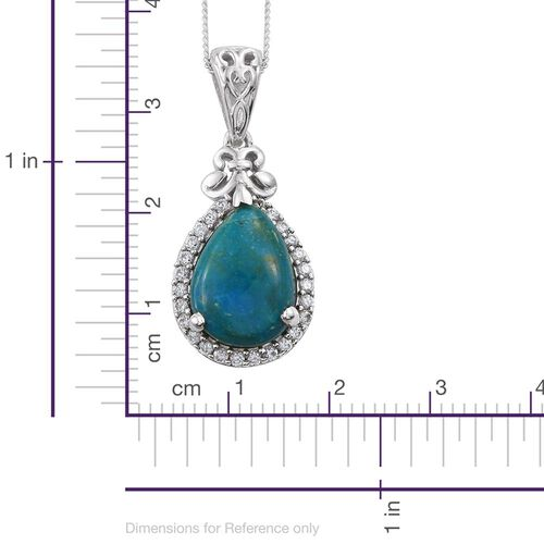 Natural Rare Opalina (Pear 4.35 Ct), Natural Cambodian Zircon Pendant with Chain in Platinum Overlay Sterling Silver 4.750 Ct. Silver wt 4.36 Gms.