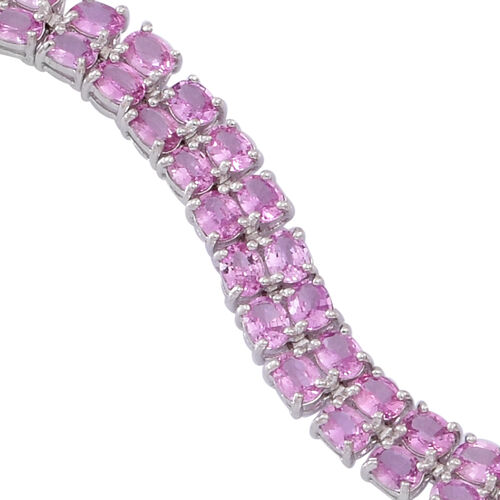 AAA Pink Sapphire (Ovl), Natural White Cambodian Zircon Bracelet (Size 7) in Rhodium Plated Sterling Silver 16.750 Ct.