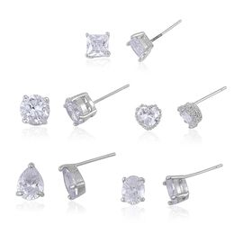 Super Bargain Auction - Set of 5 - AAA Simulated White Diamond (Multi Shape) Stud Earrings in Silver Plated