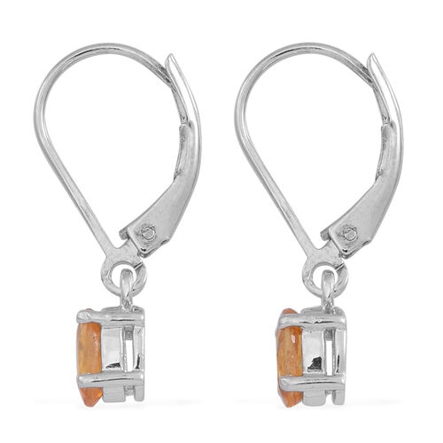Yellow Sapphire (Ovl) Lever Back Earrings in Rhodium Plated Sterling Silver 1.250 Ct.