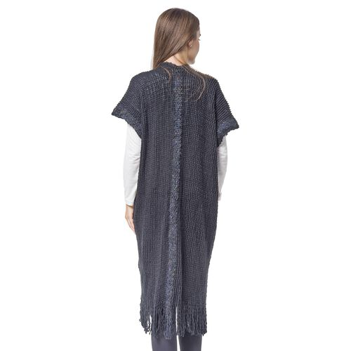 Designer Inspired-Black Colour Knitted Kimono with Tassels (Free Size)
