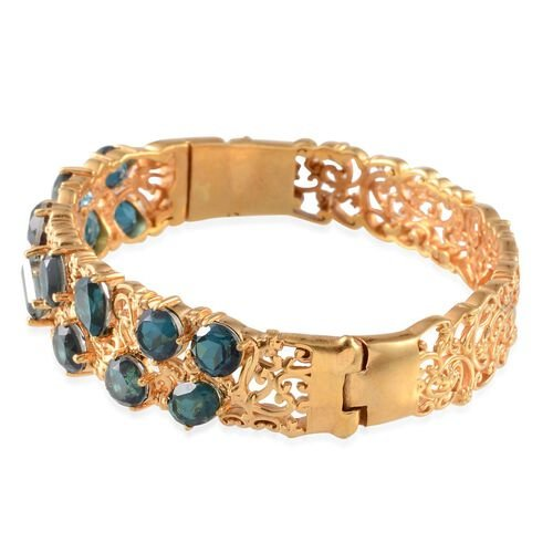 Indicolite Quartz (Bgt 1.00 Ct) Bangle in 14K Gold Overlay Sterling Silver (Size 7.5) 14.250 Ct.