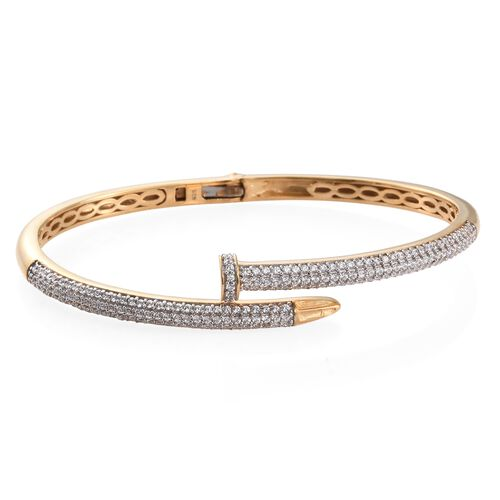 J Francis - Signature Collection 14K Gold Overlay Sterling Silver (Rnd) Nail Bangle (Size 7.5) Made with SWAROVSKI ZIRCONIA.200 pcs of Swarovski Zirconia Studded. Silver wt. 18.89 Gms.