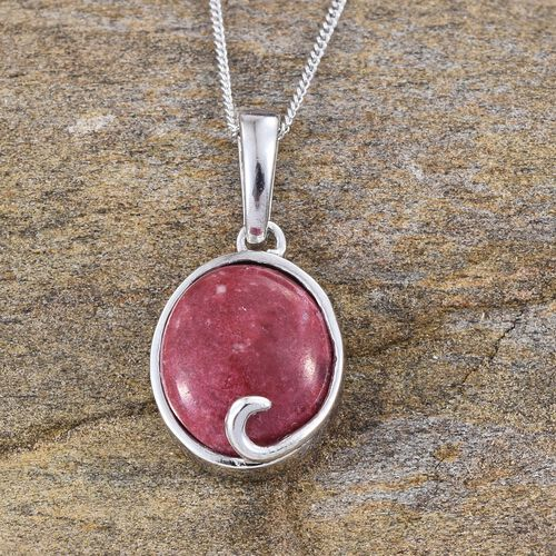 Norwegian Thulite (Ovl) Solitaire Pendant With Chain in Platinum Overlay Sterling Silver 5.500 Ct.