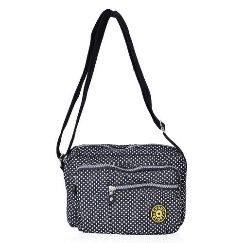 Black and White Colour Polka Dots Pattern Multi Pocket Waterproof Sport Bag with Adjustable Shoulder Strap (Size 22.5X17.5X6 Cm)
