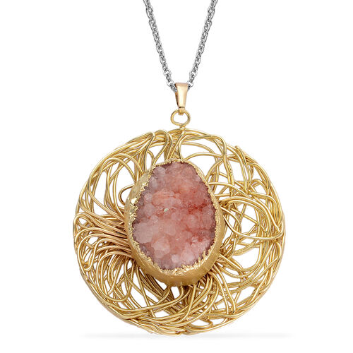 Pink Drusy Quartz Pendant in Gold Tone with Stainless Steel Chain 10.000 Ct.
