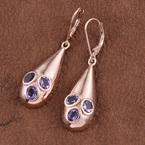 Rose De France Amethyst (Ovl) Lever Back Earrings in Rose Gold Overlay Sterling Silver 1.750 Ct.