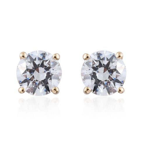 J Francis - 9K Yellow Gold Round Stud Earrings (with Push Back) Made with SWAROVSKI ZIRCONIA