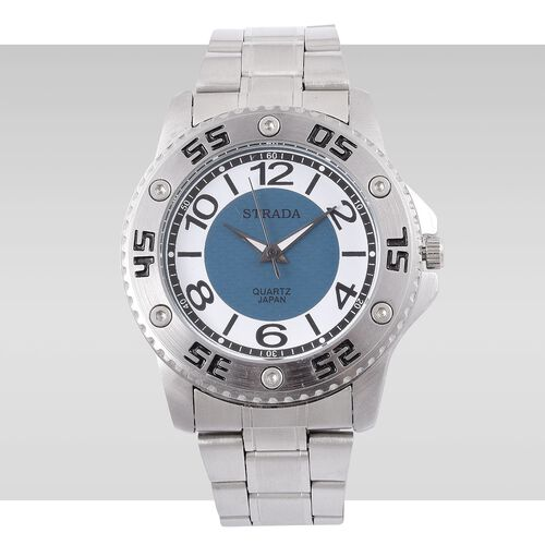 STRADA Japanese Movement Blue and White Colour Dial Water Resistant Watch in Silver Tone with Stainless Steel Back and Chain Strap