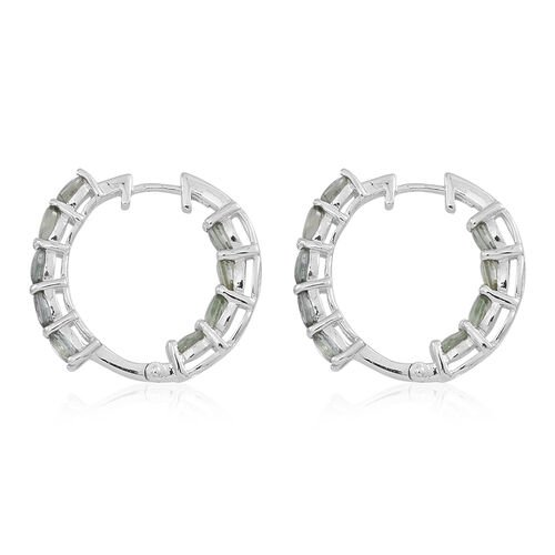 Songea Green Sapphire (Ovl) Hoop Earrings (with Clasp) in Rhodium Plated Sterling Silver 4.000 Ct.