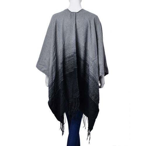 One Time Deal - Designer Inspired Black and Grey Colour Intricate Pattern Reversible Poncho with Tassels (Size 130x75 Cm)